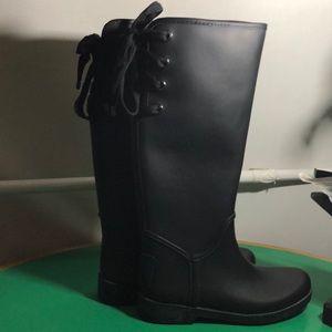 Coach Black Rubber Rain Boots. Sz 9